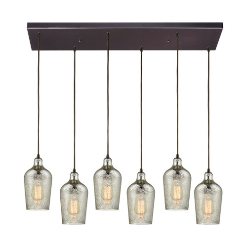 ELK Lighting 10830/6RC Hammered Glass 6-Light Rectangular Pendant Fixture in Oiled Bronze with Hammered Mercury Glass
