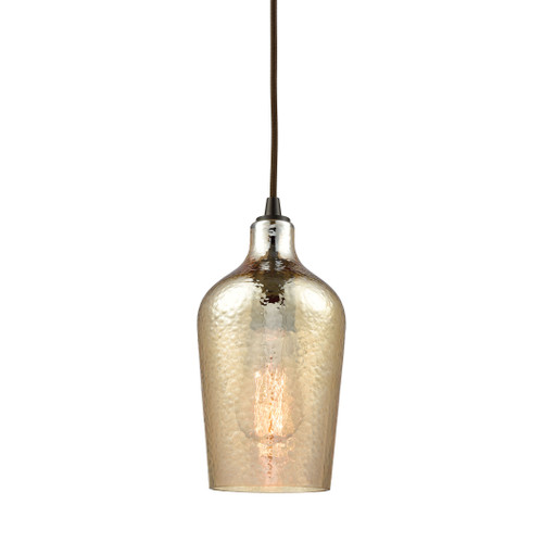 ELK Lighting 10840/1 Hammered Glass 1-Light Mini Pendant in Oiled Bronze with Amber-plated Hammered Glass