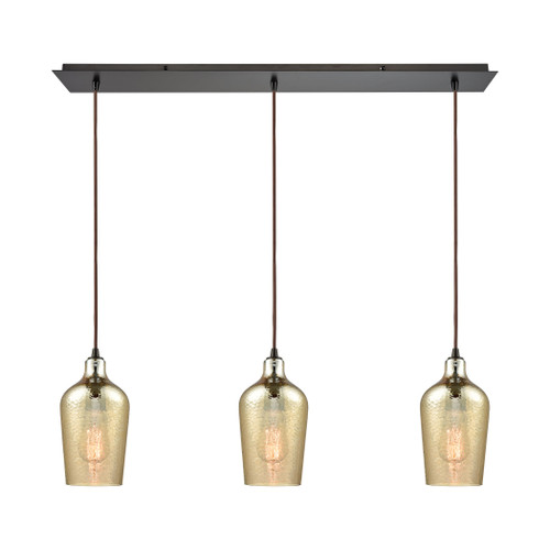 ELK Lighting 10840/3LP Hammered Glass 3-Light Linear Mini Pendant Fixture in Oiled Bronze with Amber-plated Hammered Glass