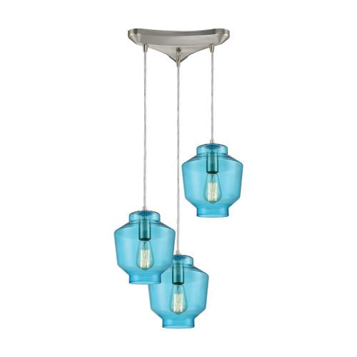 ELK Lighting 10915/3 Barrel 3-Light Triangular Pendant Fixture in Satin Nickel with Aqua Blown Glass