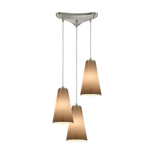 ELK Lighting 10940/3 Connor 3-Light Triangular Pendant Fixture in Satin Nickel with Peach Blown Glass