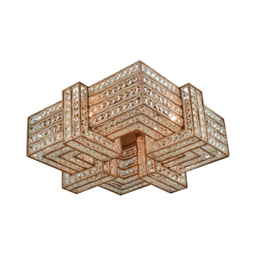 ELK Lighting 11122/4 Lexicon 4-Light Flush Mount in Matte Gold with Clear Crystal