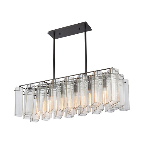 ELK Lighting 11163/6 Cubic Glass 6-Light Linear Chandelier in Oil Rubbed Bronze with Clear Glass Square Tubes