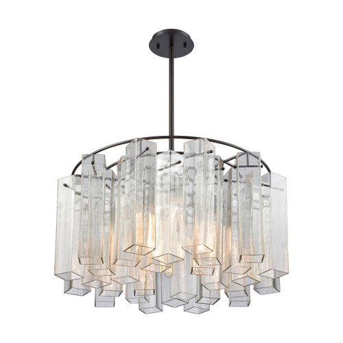 ELK Lighting 11164/6 Cubic Glass 6-Light Chandelier in Oil Rubbed Bronze with Clear Glass Square Tubes