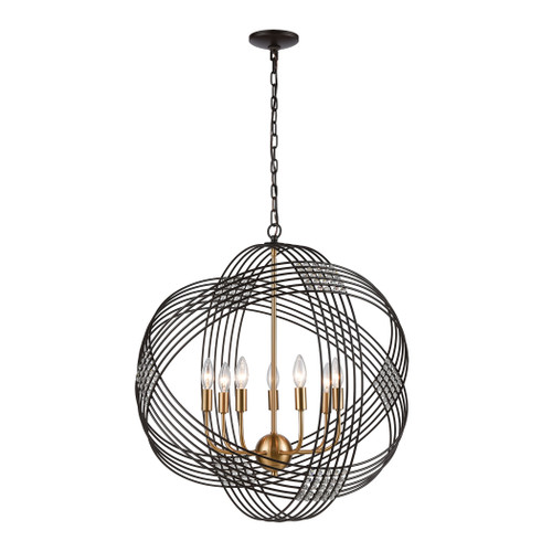 ELK Lighting 11194/7 Concentric 7-Light Chandelier in Oil Rubbed Bronze with Clear Crystal Beads
