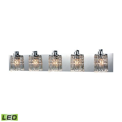 ELK Lighting 11239/5-LED Optix 5-Light Vanity Sconce in Polished Chrome with Clear Crystal - Includes LED Bulbs