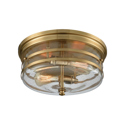 ELK Lighting 11325/2 Port O'Connor 2-Light Flush Mount in Satin Brass with Clear Seedy Glass