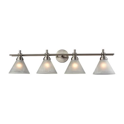 ELK Lighting 11403/4 Pemberton 4-Light Vanity Lamp in Brushed Nickel with White Marbleized Glass