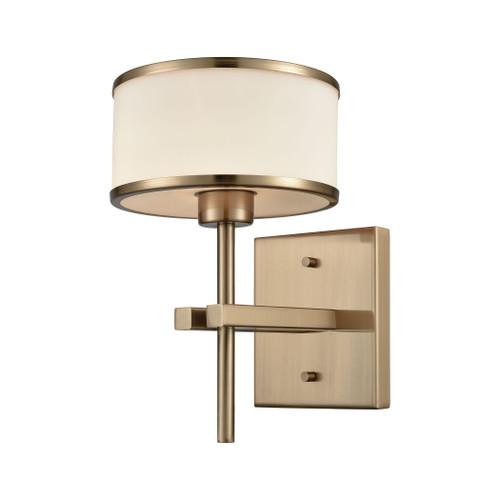 ELK Lighting 11615/1 Utica 1-Light Vanity Lamp in Satin Brass with Opal White Glass
