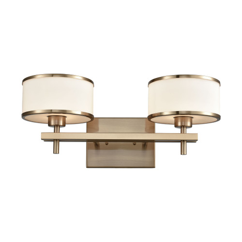 ELK Lighting 11616/2 Utica 2-Light Vanity Lamp in Satin Brass with Opal White Glass