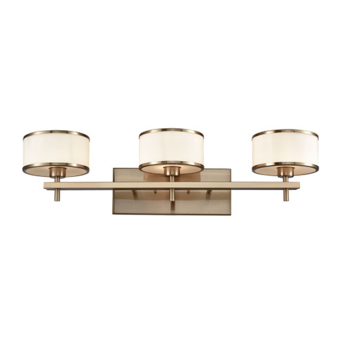 ELK Lighting 11617/3 Utica 3-Light Vanity Lamp in Satin Brass with Opal White Glass