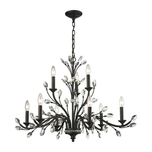 ELK Lighting 11776/6+3 Crystal Branches 9-Light Chandelier in Burnt Bronze