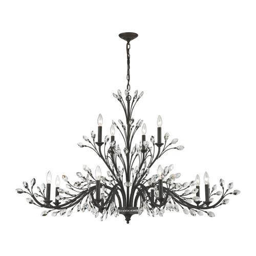 ELK Lighting 11777/8+4 Crystal Branches 12-Light Chandelier in Burnt Bronze