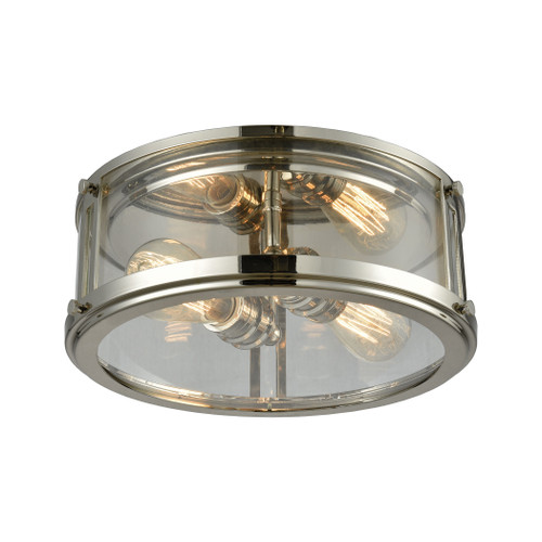 ELK Lighting 11850/2 Coby 2-Light Flush Mount in Polished Nickel with Clear Glass