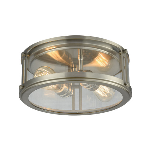 ELK Lighting 11860/2 Coby 2-Light Flush Mount in Brushed Nickel with Clear Glass
