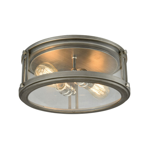 ELK Lighting 11880/2 Coby 2-Light Flush Mount in Polished Nickel and Weathered Zinc with Clear Glass