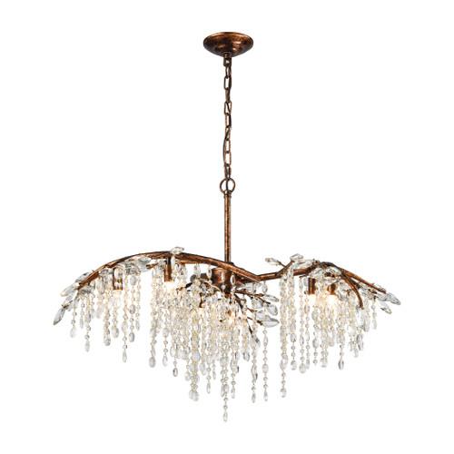 ELK Lighting 11901/6 Elia 6-Light Chandelier in Spanish Bronze with Clear Crystal