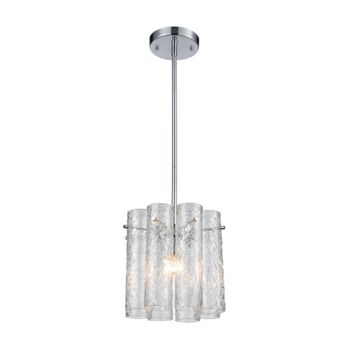 ELK Lighting 11911/1 Glass Symphony 1-Light Mini Pendant in Polished Chrome with Clear Textured Glass Cylinders