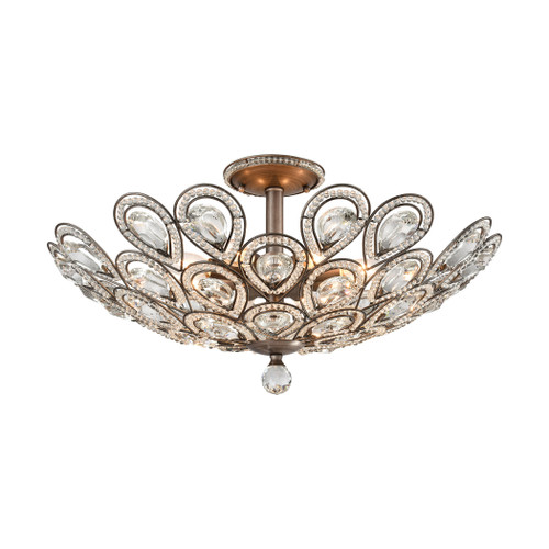 ELK Lighting 11932/8 Evolve 8-Light Semi Flush in Weathered Zinc with Clear Crystal