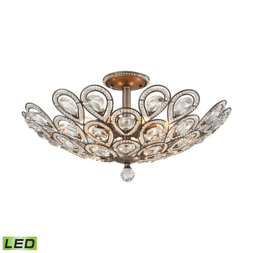ELK Lighting 11932/8-LED Evolve 8-Light Semi Flush in Weathered Zinc with Clear Crystal - Includes LED Bulbs