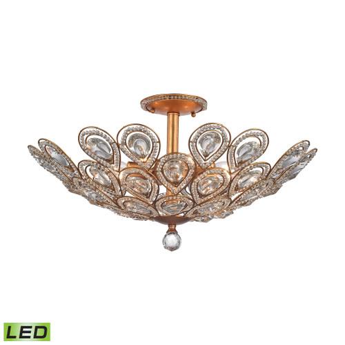 ELK Lighting 11933/8-LED Evolve 8-Light Semi Flush in Matte Gold with Clear Crystal - Includes LED Bulbs