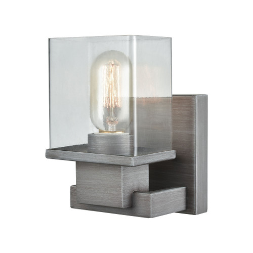 ELK Lighting 11940/1 Hotelier 1-Light Vanity Lamp in Weathered Zinc with Clear Glass
