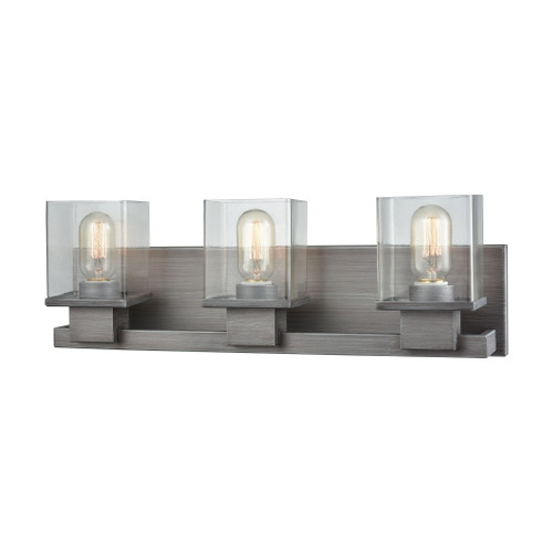 ELK Lighting 11942/3 Hotelier 3-Light Vanity Sconce in Weathered Zinc with Clear Glass
