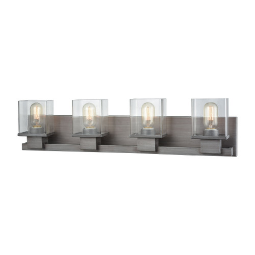 ELK Lighting 11943/4 Hotelier 4-Light Vanity Sconce in Weathered Zinc with Clear Glass