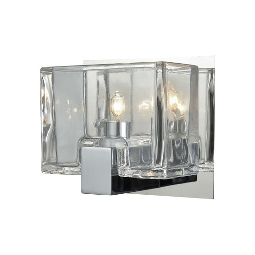 ELK Lighting 11960/1 Ridgecrest 1-Light Vanity Sconce in Polished Chrome with Clear Cast Glass