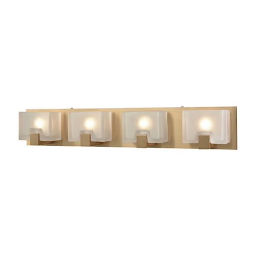 ELK Lighting 11973/4 Ridgecrest 4-Light Vanity Sconce in Satin Brass with Frosted Cast Glass
