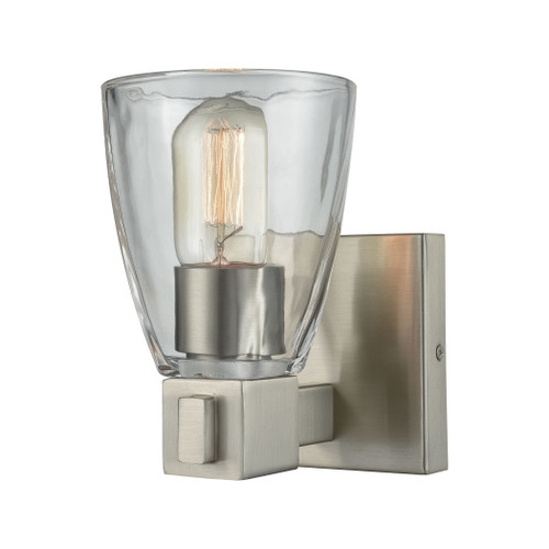 ELK Lighting 11980/1 Ensley 1-Light Vanity Lamp in Satin Nickel with Square-to-Round Clear Glass