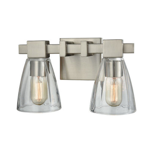 ELK Lighting 11981/2 Ensley 2-Light Vanity Lamp in Satin Nickel with Square-to-Round Clear Glass