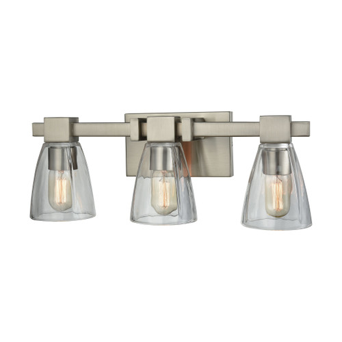 ELK Lighting 11982/3 Ensley 3-Light Vanity Lamp in Satin Nickel with Square-to-Round Clear Glass
