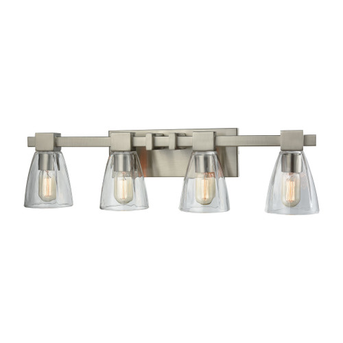 ELK Lighting 11983/4 Ensley 4-Light Vanity Lamp in Satin Nickel with Square-to-Round Clear Glass