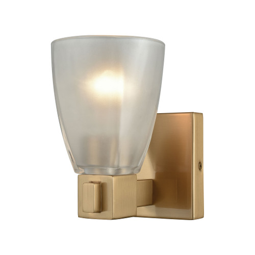 ELK Lighting 11990/1 Ensley 1-Light Vanity Lamp in Satin Brass with Square-to-Round Frosted Glass