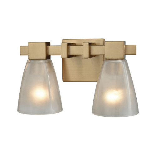 ELK Lighting 11991/2 Ensley 2-Light Vanity Lamp in Satin Brass with Square-to-Round Frosted Glass