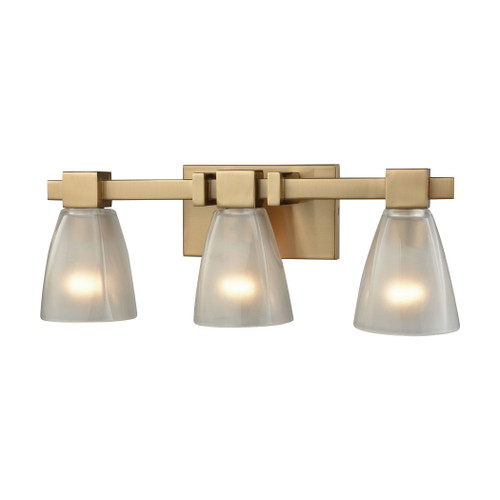 ELK Lighting 11992/3 Ensley 3-Light Vanity Lamp in Satin Brass with Square-to-Round Frosted Glass