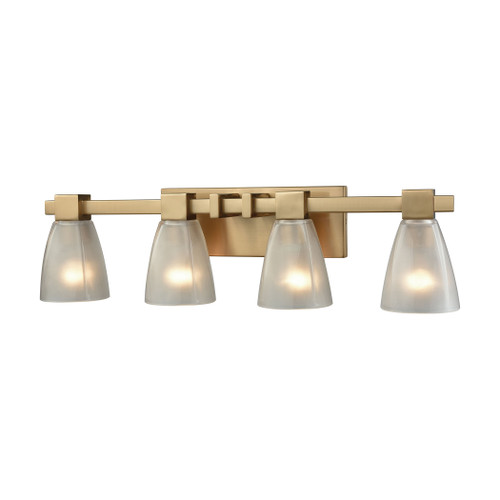 ELK Lighting 11993/4 Ensley 4-Light Vanity Lamp in Satin Brass with Square-to-Round Frosted Glass