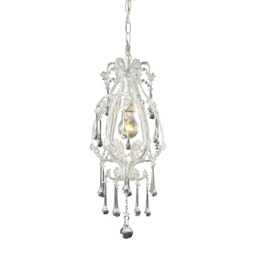 ELK Lighting 12003/1CL Opulence 1-Light Mini Pendant in Antique White with Clear Crystals