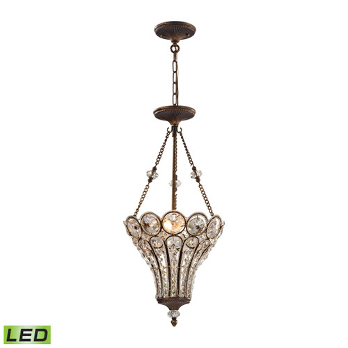 ELK Lighting 12032/3-LED Christina 3-Light Chandelier in Mocha with Clear Crystal - Includes LED Bulbs