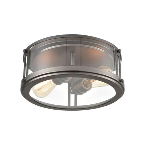 ELK Lighting 12112/2 2-Light Flush Mount in Black Nickel with Clear Glass