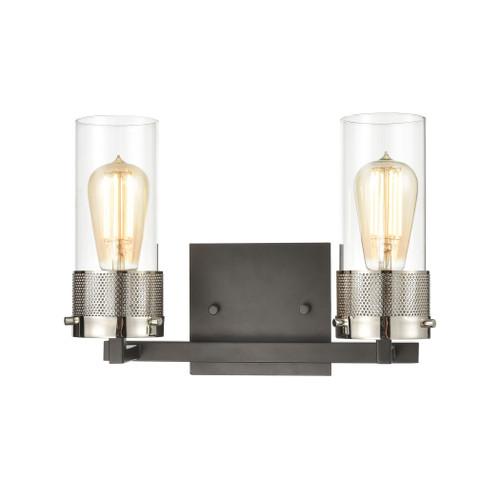 ELK Lighting 12141/2 Bergenline 2-Light Vanity Light in Matte Black with Clear Glass