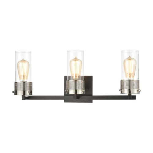 ELK Lighting 12142/3 Bergenline 3-Light Vanity Light in Matte Black with Clear Glass