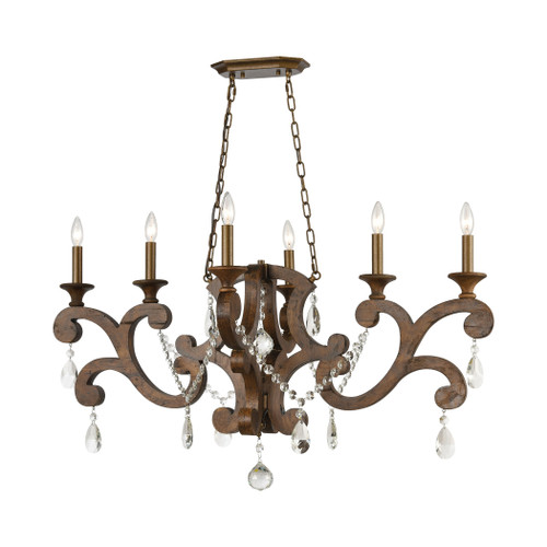 ELK Lighting 12257/6 San Sebastian 6-Light Island Light in Spanish Antiquewood and Dark Bronze