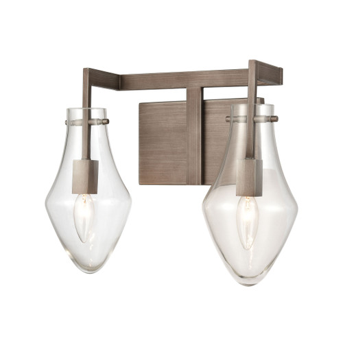 ELK Lighting 12292/2 Culmination 2-Light Vanity Light in Weathered Zinc with Clear Glass