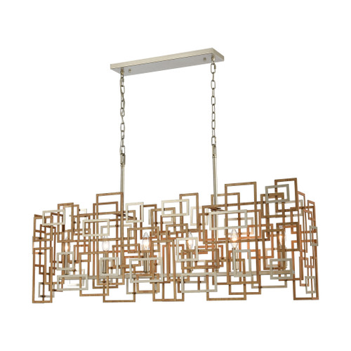 ELK Lighting 12306/6 Gridlock 6-Light Island Light in Matte Gold and Aged Silver