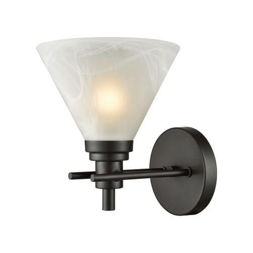 ELK Lighting 12400/1 Pemberton 1-Light Vanity Lamp in Oil Rubbed Bronze with White Marbleized Glass