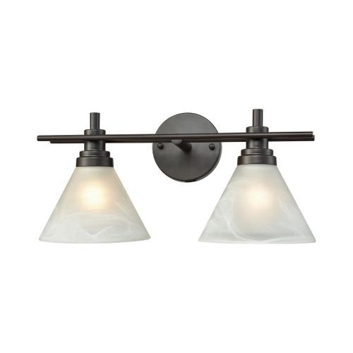 ELK Lighting 12401/2 Pemberton 2-Light Vanity Lamp in Oil Rubbed Bronze with White Marbleized Glass