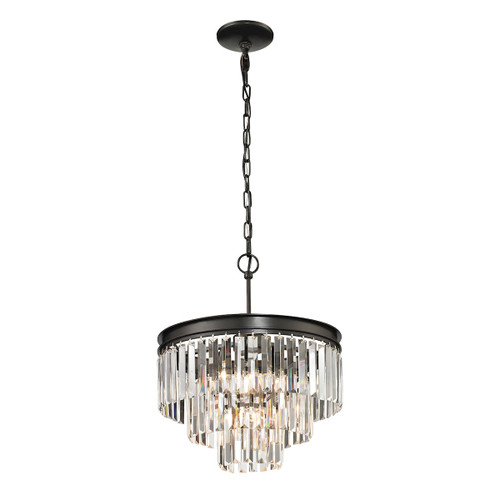 ELK Lighting 14212/3+1 Palacial 3+1-Light Chandelier in Oil Rubbed Bronze with Clear Crystal