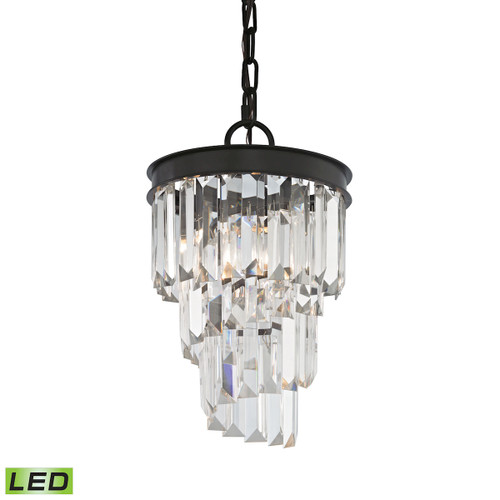 ELK Lighting 14216/1-LED Palacial 1-Light Mini Pendant in Oil Rubbed Bronze with Clear Crystal - Includes LED Bulb